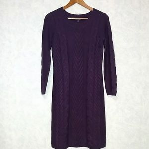 Chadwicks purple cable knit sweater dress small